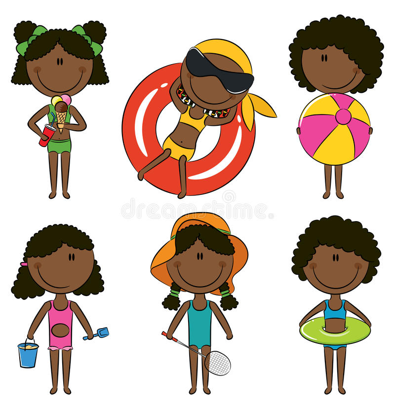 Happy African-American kids on the beach royalty free illustration