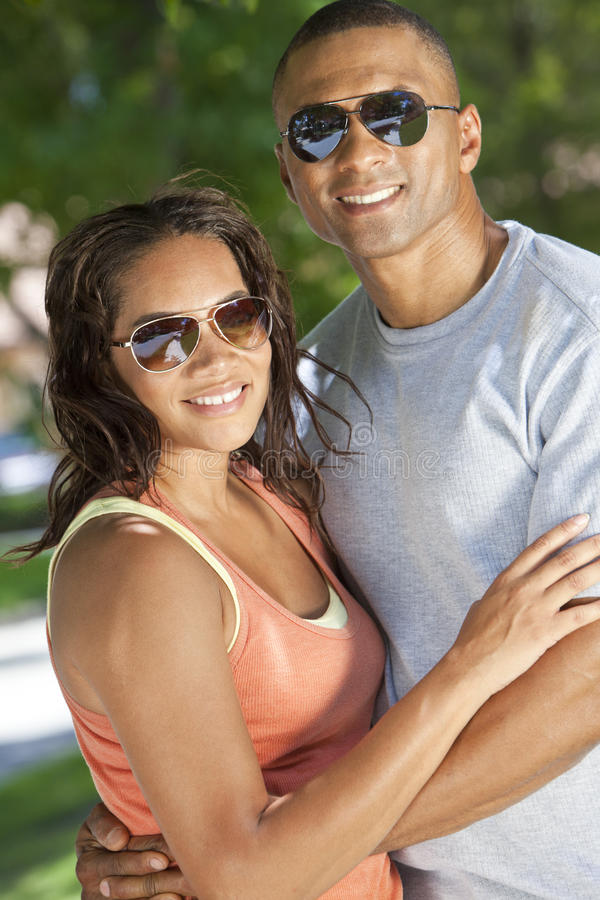 Happy African American Man & Woman Couple royalty free stock images