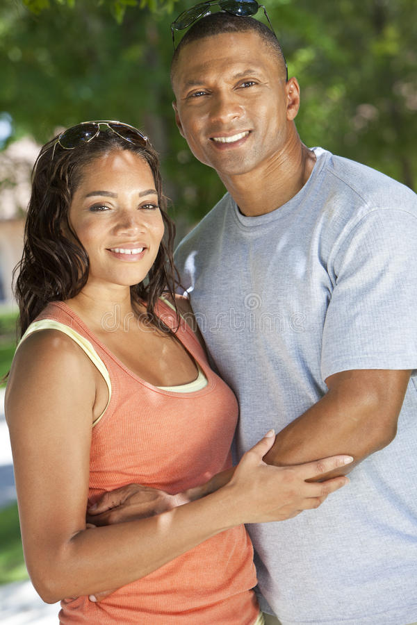 Happy African American Man & Woman Couple stock photo
