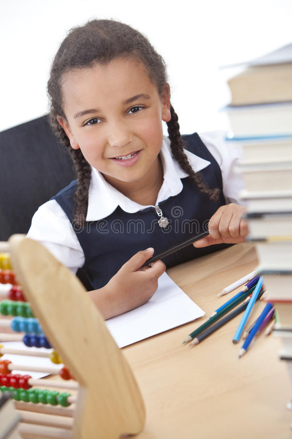Download Happy African American Mixed Race School Girl Stock Photo - Image: 23740642