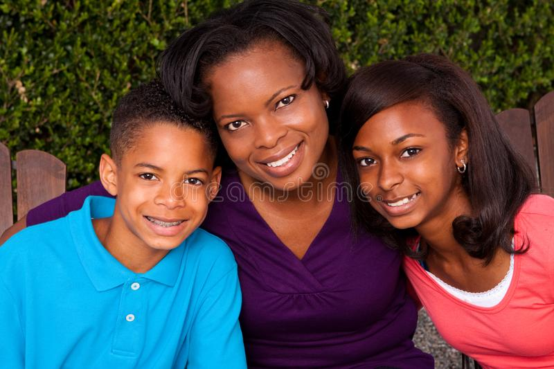 African American mother and her children. royalty free stock image