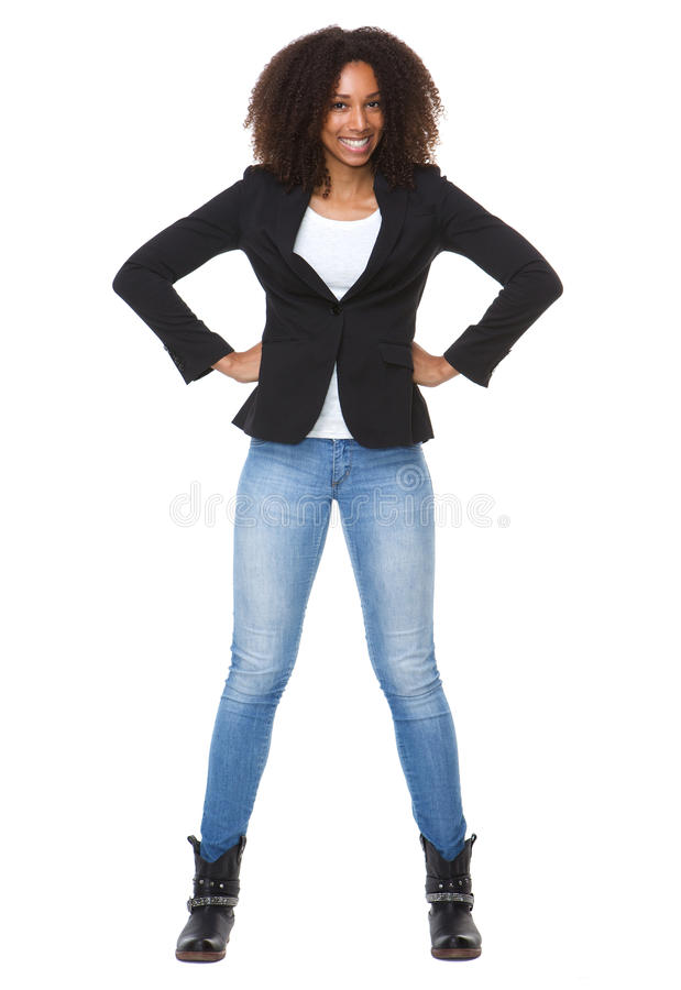 Happy african american woman with hands on hip royalty free stock image