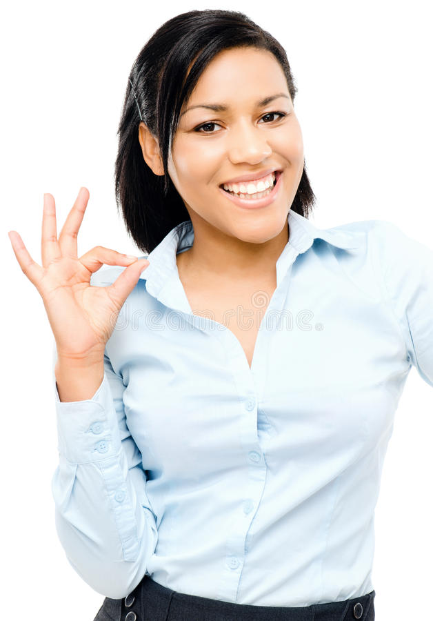 Happy african american woman okay sign white background stock image