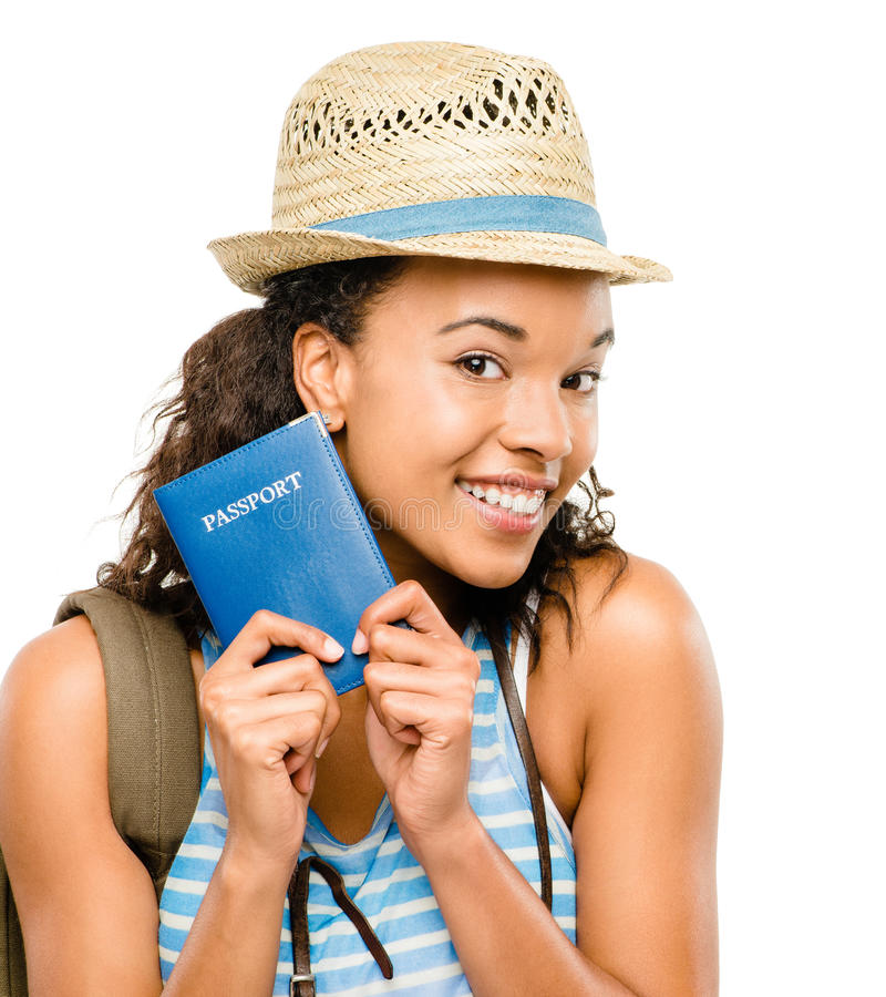 Happy African American woman tourist holding passport royalty free stock photography