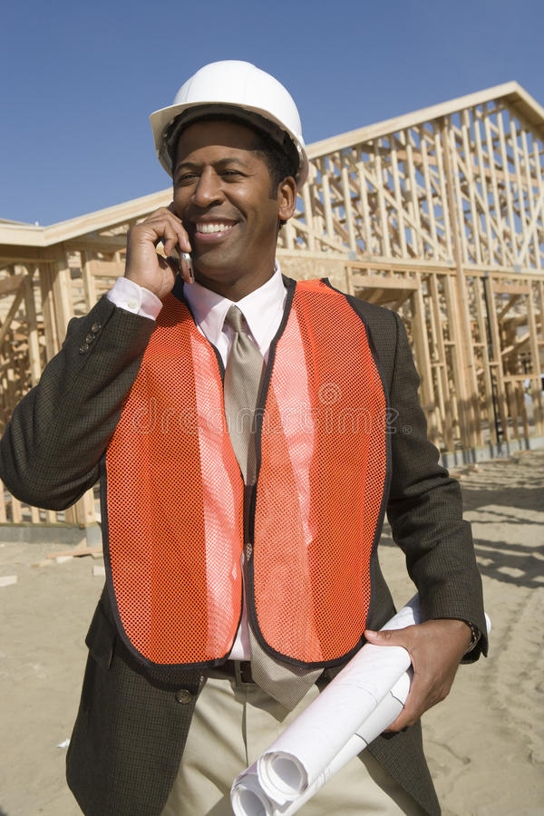Happy African American worker royalty free stock images