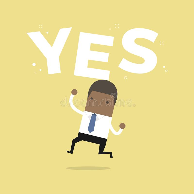 Happy African businessman jumping with the word `Yes`. stock illustration