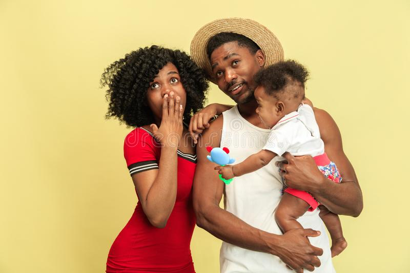 Happy african family at studio stock images