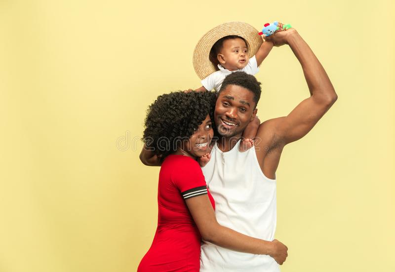Happy african family at studio royalty free stock photography