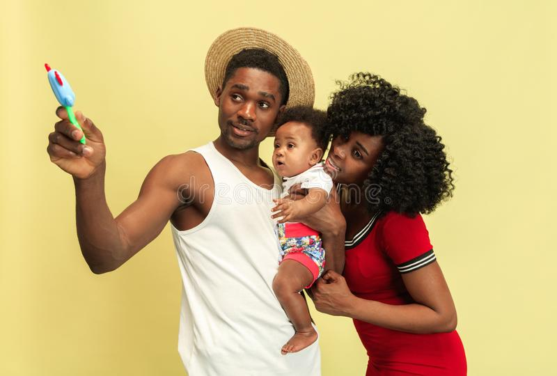 Happy african family at studio royalty free stock photo
