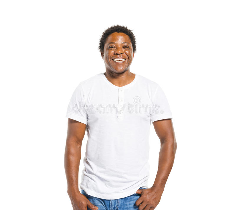 Happy African Man on White Background stock image