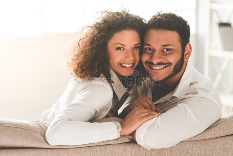 Happy Afro American couple royalty free stock photos