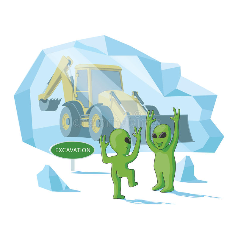 Happy aliens excavate a human excavator. Somewhere in the southern or northern pole stock illustration