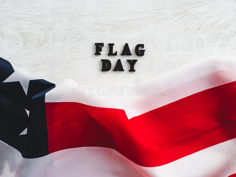 Happy American Flag day. Close-up, top view stock photos