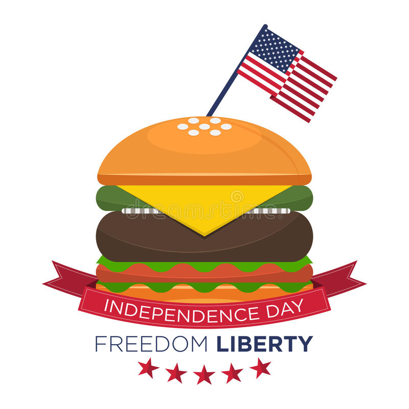 Happy American independence day, United States flag on hamburger. Fourth of July, July 4th. stock illustration