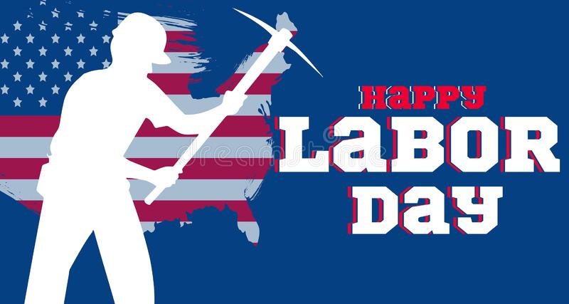 Happy American Labor Day Banner stock illustration