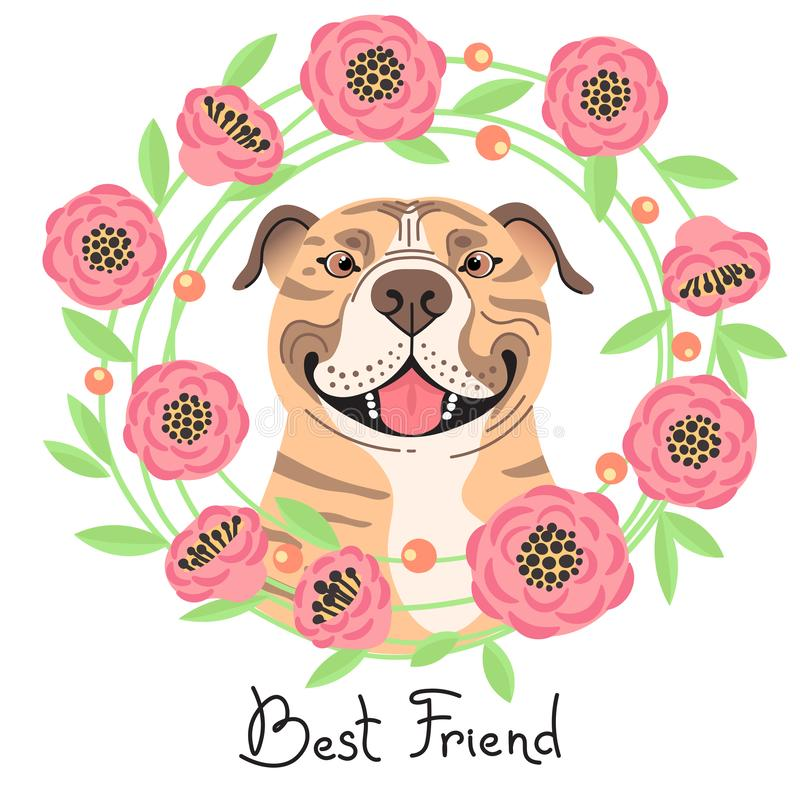 Happy American Staffordshire Pit Bull Terrier. Best friend - Pit Bull dog and wreath of flowers in the style of cartoon royalty free stock photos