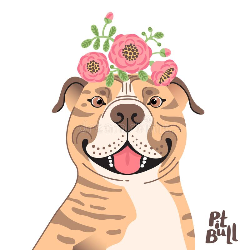 Happy American Staffordshire Pit Bull Terrier. Best friend - Pit Bull dog and wreath of flowers in the style of cartoon stock images