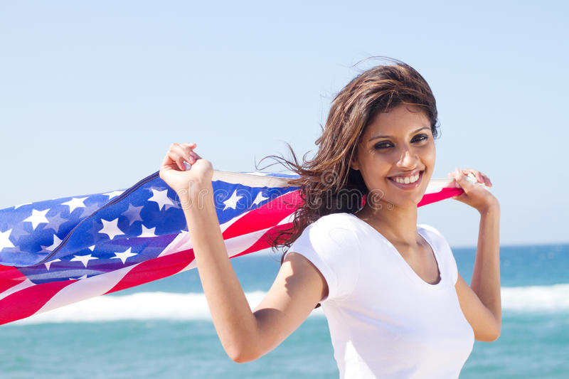 Happy american woman stock image