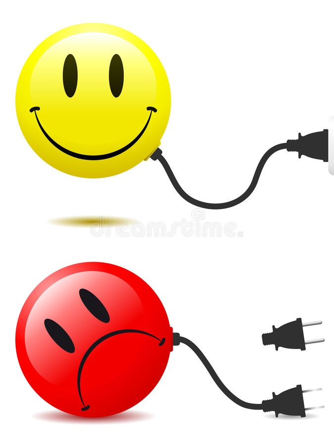 Free Happy And Unhappy Smiley Face With Connector Plug Royalty Free Stock Photography - 8160907