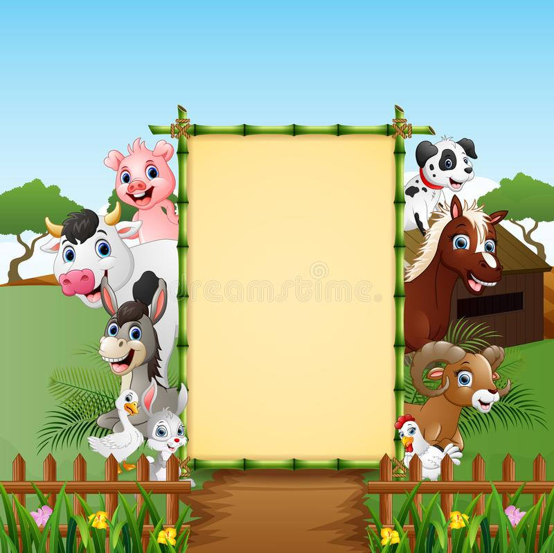 Happy animals farm with blank sign royalty free illustration