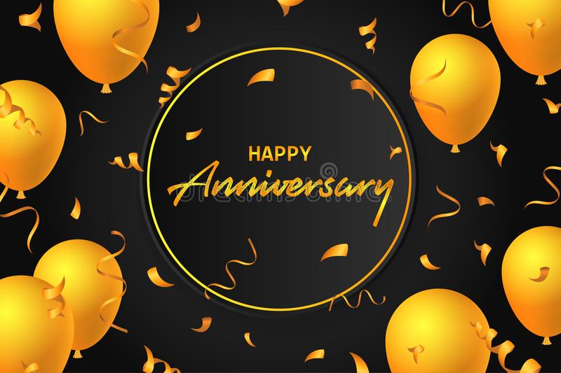 Happy anniversary balloons typography banner background