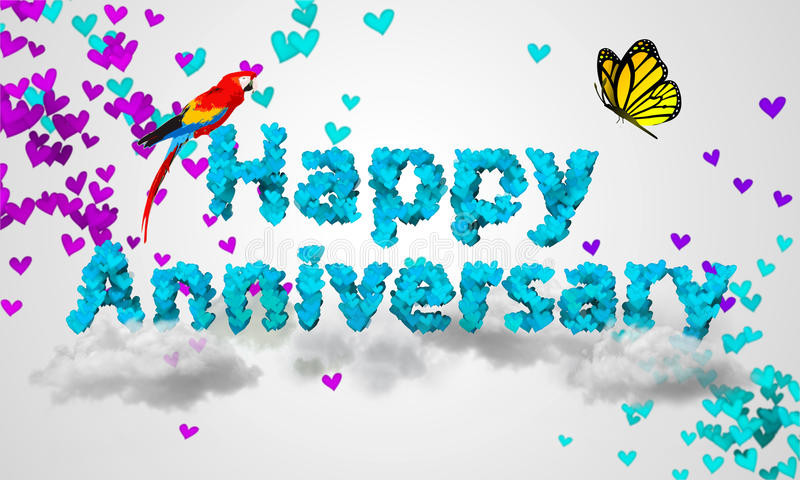 Happy Anniversary Blue Heart Shape 3D Stock Illustration