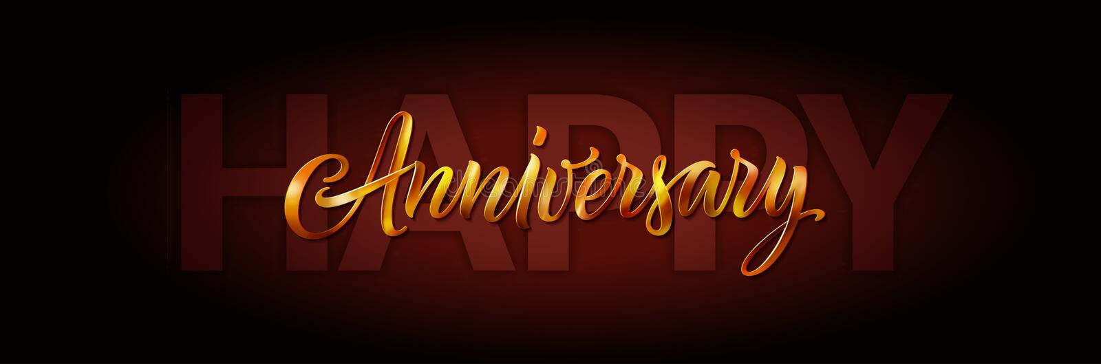 Happy anniversary card. Vector elegant greeting banner with gold text on brown background. 3D lettering. Calligraphy and vector illustration