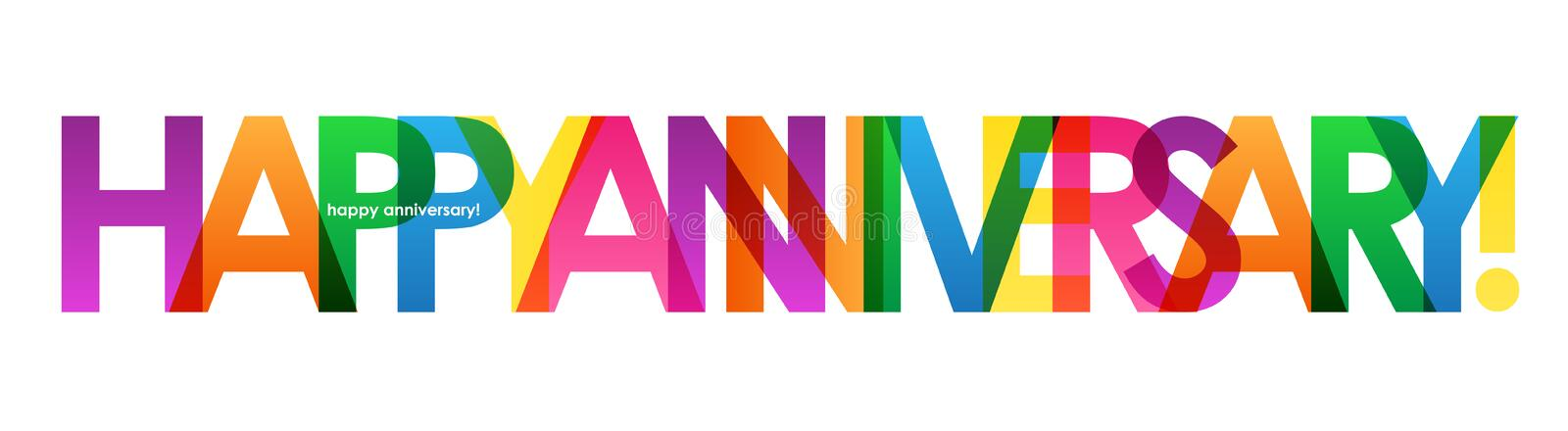 HAPPY ANNIVERSARY colorful overlapping letters vector banner royalty free stock photography