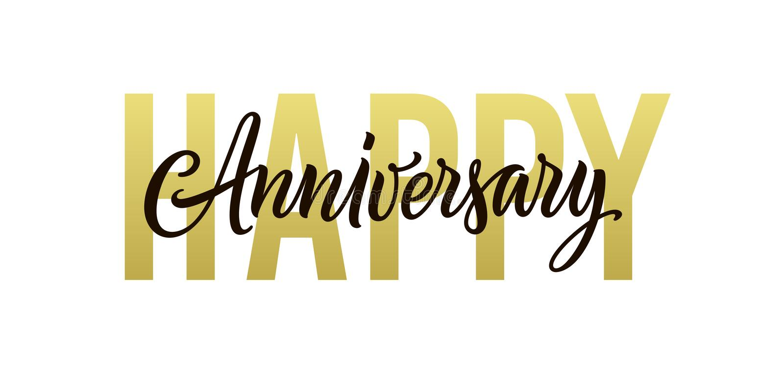 Happy anniversary. Gold, black and white greeting card design. Vector happy anniversary text isolated on white stock illustration