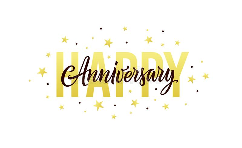 Happy anniversary. Gold, white, black design template for birthday or wedding invitation, party decoration. Greeting royalty free illustration