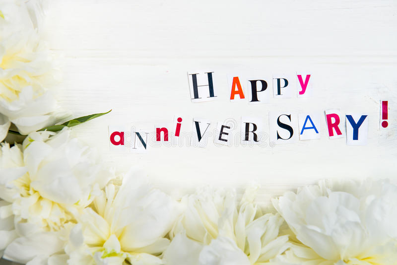Happy anniversary letters cut out from magazines and white peoni download happy anniversary letters cut out from magazines and white peoni stock photo image of spiritdancerdesigns Images