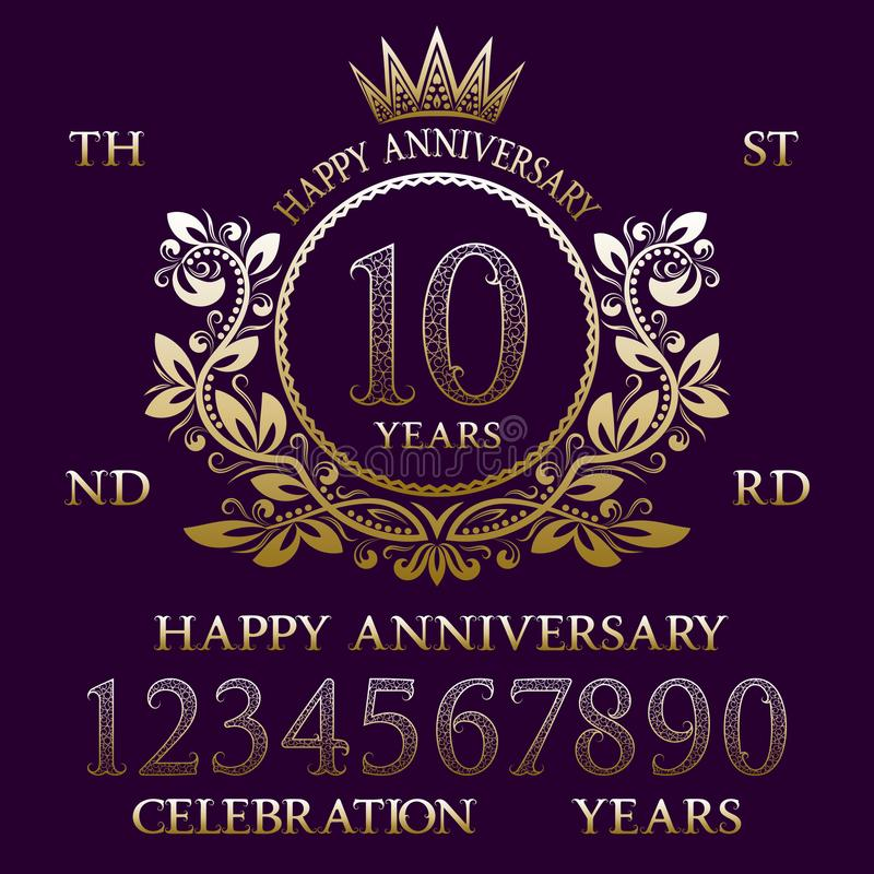 Happy Anniversary sign kit. Golden numbers, frame and some words for creating celebration emblems vector illustration