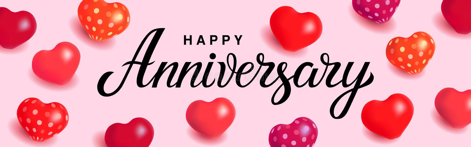 Happy Anniversary - unique hand drawn holiday quote on light pink background with heart balloons. Handwritten typography vector illustration