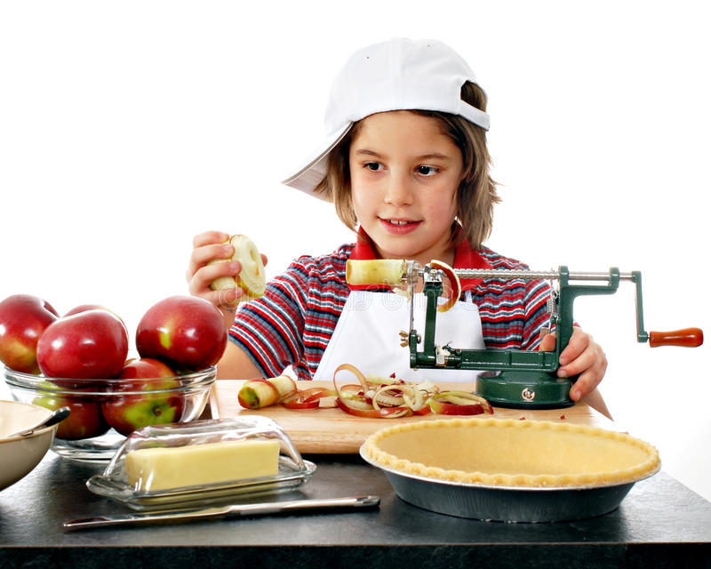 Happy Apple Peeler royalty free stock photography