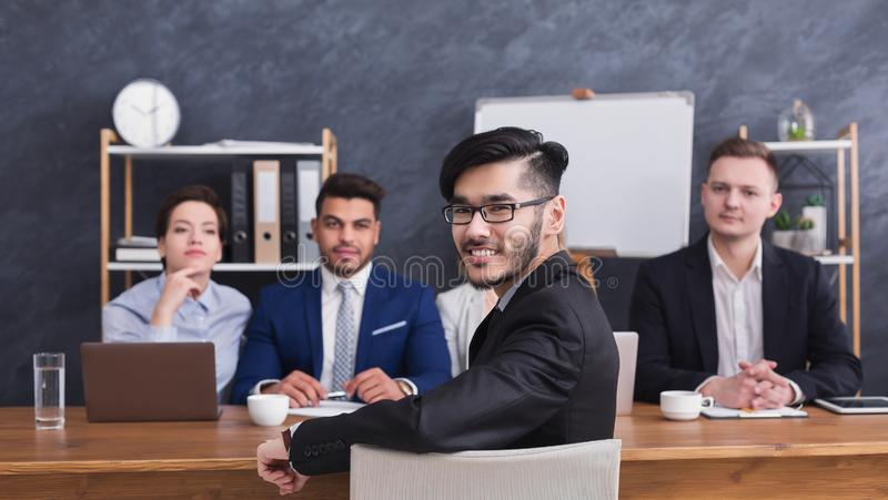 Happy applicant talking at job interview to comission royalty free stock photo