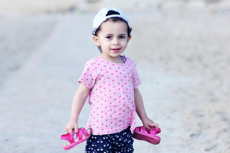 Happy arab egyptian baby girl royalty free stock photography