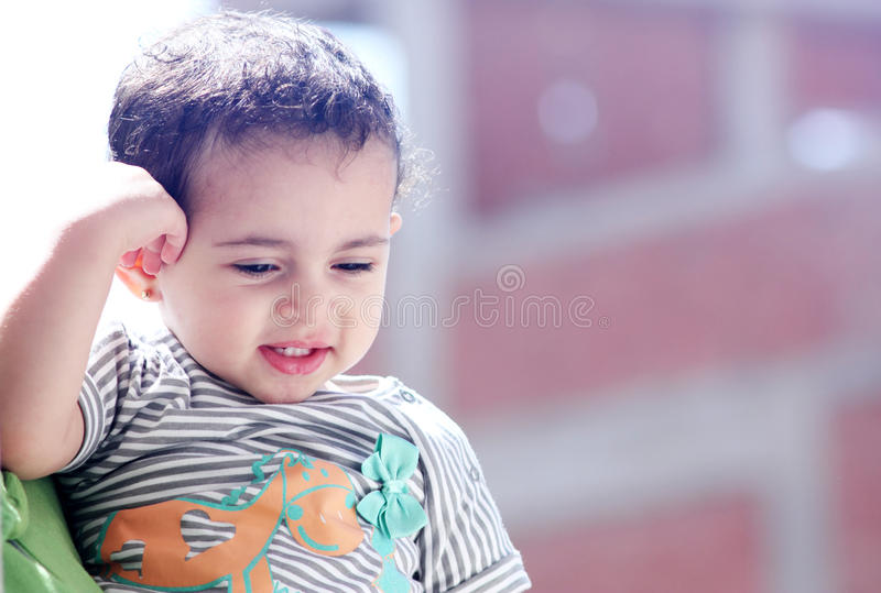 Happy arab egyptian baby girl royalty free stock photo