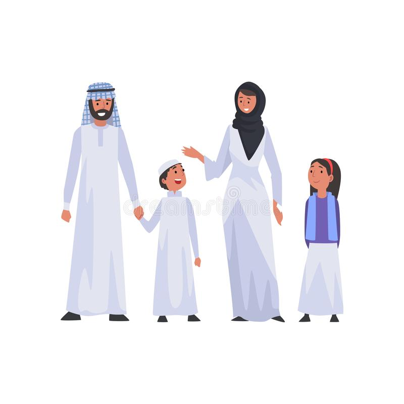 Happy Arab Family in National Clothes, Muslim Parents and Two Children Vector Illustration stock illustration