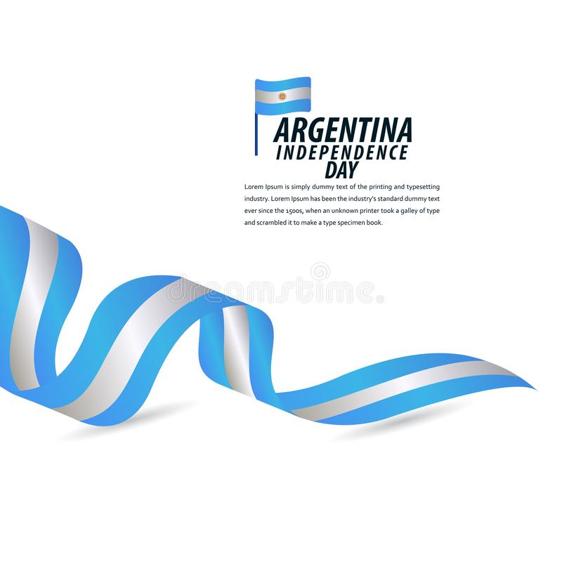 Happy Argentina Independence Day Celebration, Poster, Ribbon banner vector template design illustration. Flag, background, national, card, holiday, white royalty free illustration