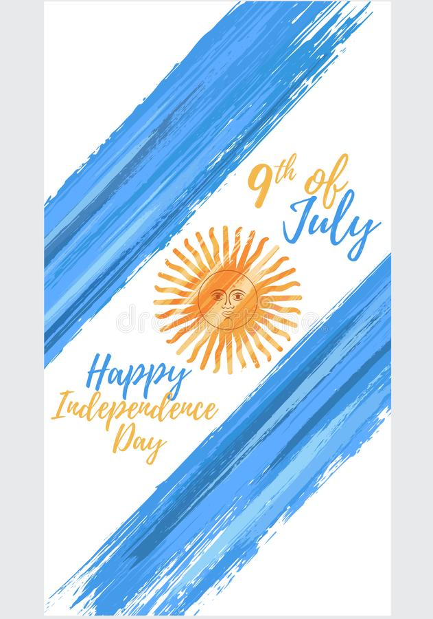 Happy Argentina independence day 9th of July royalty free illustration