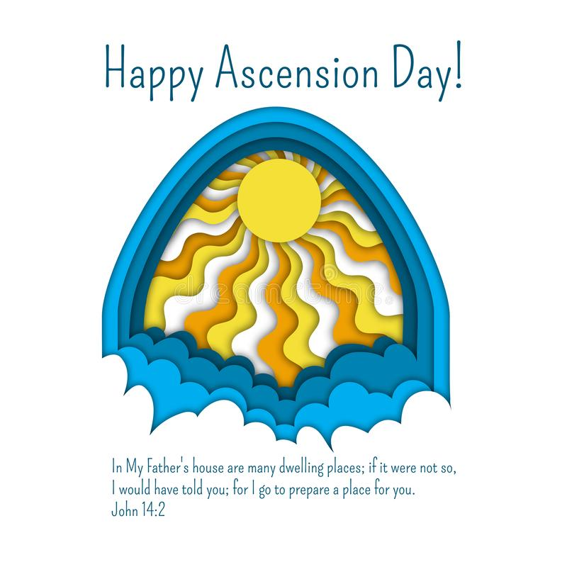 Happy Ascension Day of Jesus greeting card template with Bible quote, clouds and sun rays. stock illustration