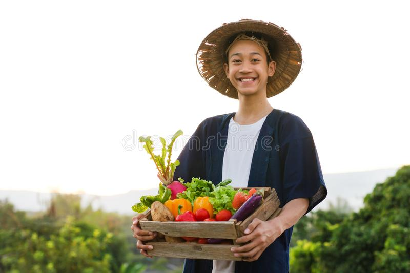 Happy Asia farmer smiling while hold various of vegetable product royalty free stock image