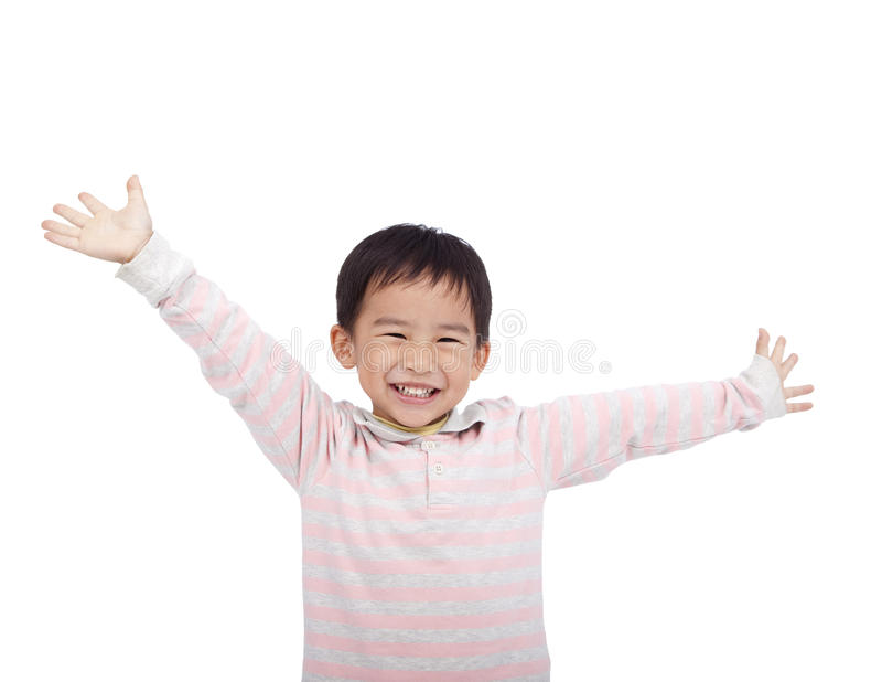 Happy asian boy. Raising hand stock photos