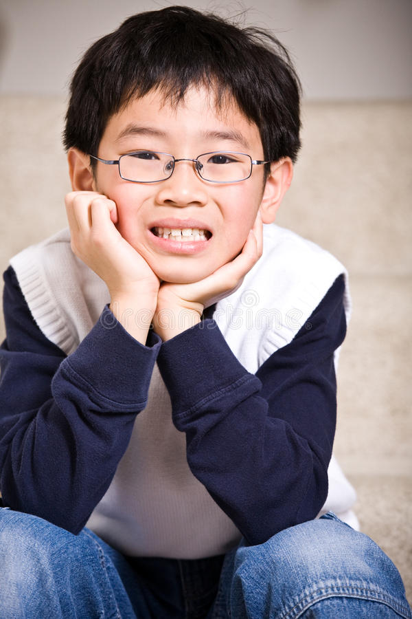 Happy asian boy stock photo