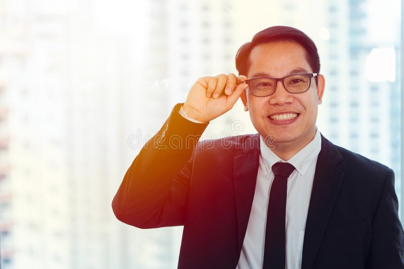 Happy Asian Business man friendly smiling stock image