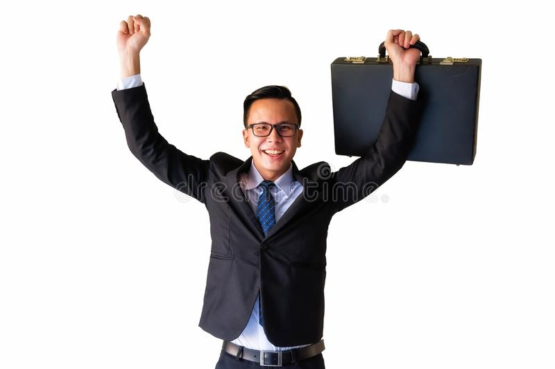 Happy Asian businessmam isolated on white. Asian Businessman holding suitcase and raise his hands with smiling face isolated on white background.  Happy with royalty free stock photo