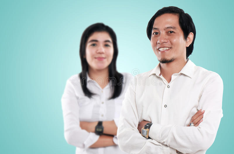 Happy Asian Businessman and Businesswoman royalty free stock images