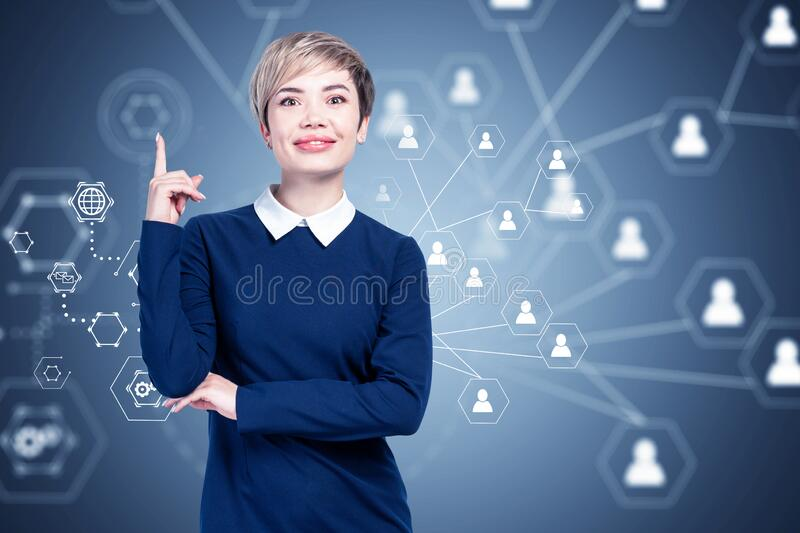 Happy Asian businesswoman, social network royalty free stock photos