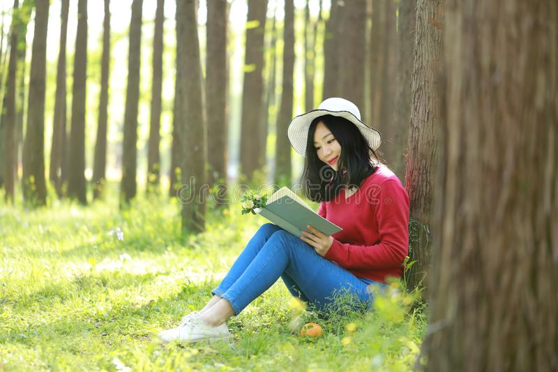 Happy Asian Chinese woman beauty girl smile and read a book in forest spring park lean on a tree. Portrait of a Asian Chinese free woman reading book sit on a stock photography