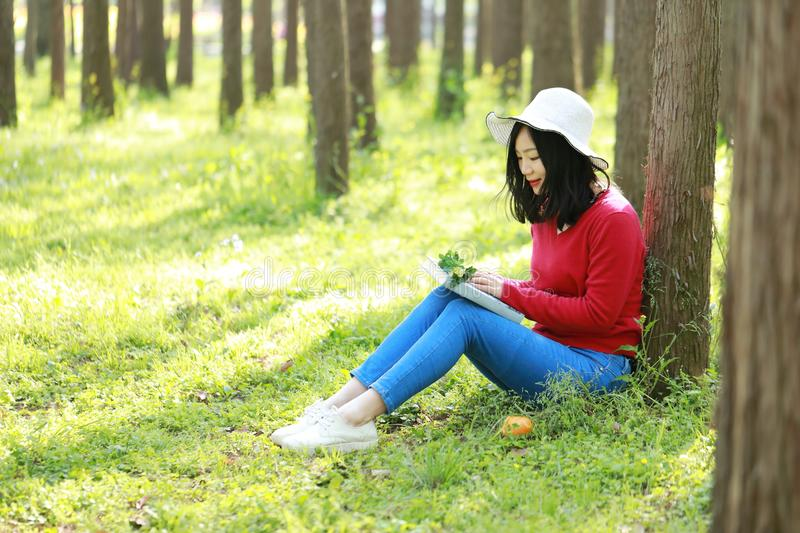 Happy Asian Chinese woman beauty girl smile and read a book in forest spring park lean on a tree. Portrait of a Asian Chinese free woman reading book sit on a stock photo
